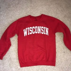 red Wisconsin Crewneck